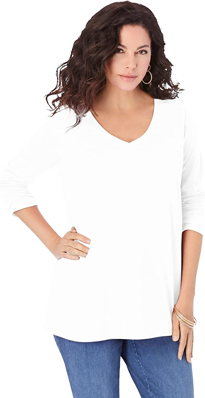 Roamans Women's Plus Size Long-Sleeve V-Neck Ultimate Tee Shirt