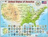 Larsen K36 Estados Unidos de América Mapa físico, edición en Inglés, Puzzle de Marco con 90 Piezas