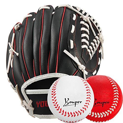 Youper Sports Teeball Glove & 2 Balls Set, Youth Baseball Glove & Soft Foam Baseballs Included - 9.5' (Black Red, 9.5' (Right Handed Thrower))