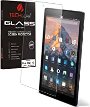 TECHGEAR GLASS Edition fits All-New Amazon Fire HD 10 2019 (7th / 9th Generation / 2019, 2017) Genuine Tempered Glass Screen Protector Guard Cover Compatible with Amazon Fire HD 10 (10.1) 2019/2017