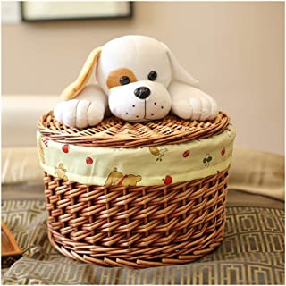 Family Essential Cartoon Children's Laundry Basket with Removable Lid and Lining, Hand-woven Rattan Storage Basket and Dirty Clothes, Including Dolls