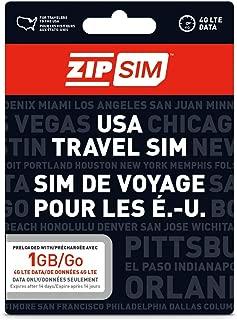 ZIP SIM Prepaid USA SIM For Travelers DATA Only 1GB, 14 Days Plan(Universal : Standard, Micro, Nano SIM)