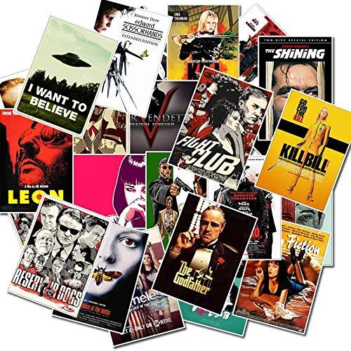 Ligoi 25 Pcs Classique Film Autocollants pour Bagages Ordinateur Portable Art Peinture Kill Bill Pulp Fiction Affiche Autocollants éTanche Planche à roulettes Jouet
