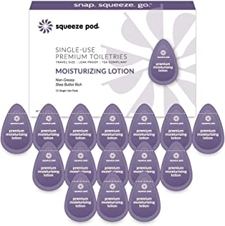 Squeeze Pod Travel Moisturizing Lotion - 15 Single Use Pods – Shea Butter Rich, Relief for Cracked Hands or Heels, Leakproof, TSA Approved Travel Size Natural Moisturizer For Air Travel, Gym Bags ML5