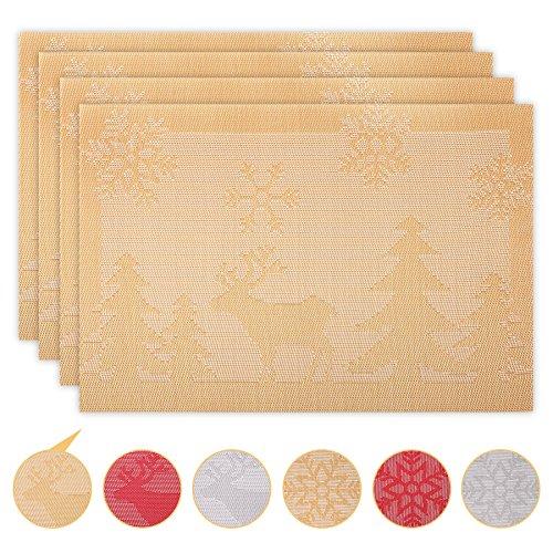 Tapetes de Mesa Juego de 4 Manteles Individuales de Mesa de Comedor Decoración de Navidad Place Mats Lavable,...