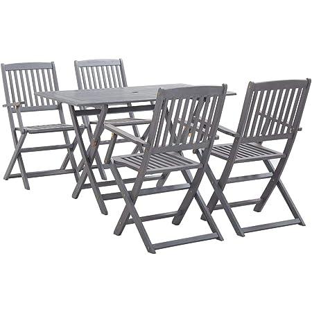 vidaXL 5 Piece Solid Acacia Wood Garden Dining Set Easy Clean Outdoor Folding Table Chair Grey Patio Furniture