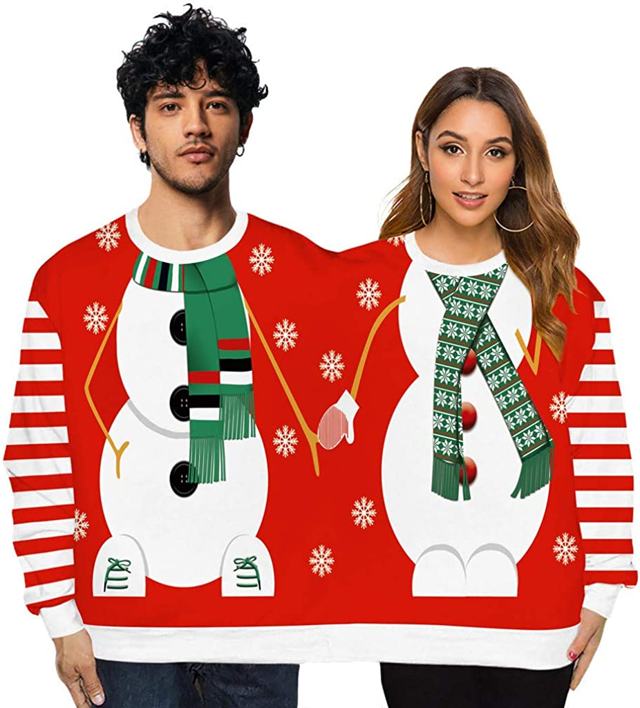 Two Person Knit Max 80% OFF Crew Neck Long Coupl Novelty Mesa Mall Sweater Sleeve Xmas