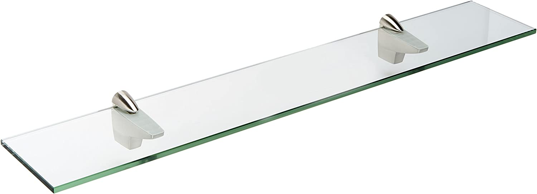 Spancraft Glass Falcon Glass Shelf, Brushed Steel, 4.75 x 24