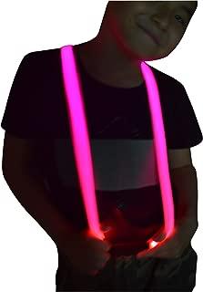 Children Boys Kids Light Up Suspenders - Adjustable Elastic Y Back LED Suspender