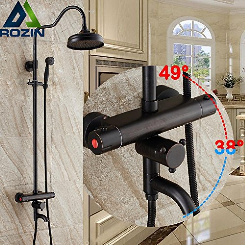 Maifeini Modernes Badezimmer In-Wall Oil-Rubbed Bronze Dusche Wasserhahn Mit Thermostatventil Dual Griff Whirlpool Auswurfkrümmer Drehen