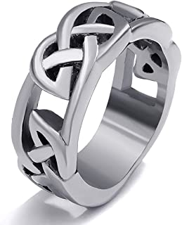Gungneer Celtic Knot Hollow Stainless Steel Band Ring Jewelry Accessories for Men Women