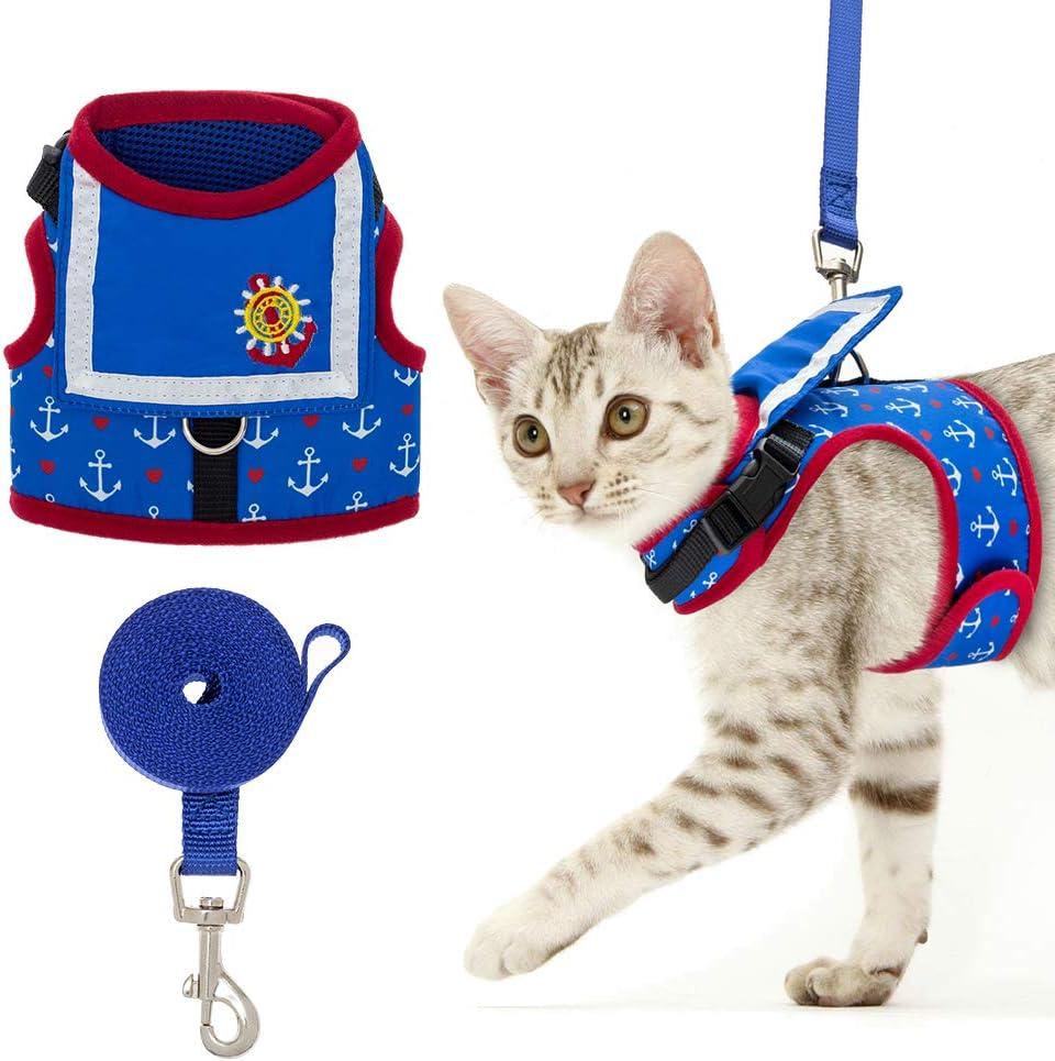 EXPAWLORER Cat Harness with Leash Ves Design Max 59% OFF Set Sailor Super sale Suit