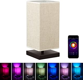 MLGB Alexa WiFi Smart Wood Table Lamp, Dimmable Multicolored Color Changing LED Light, with Fabric Shade and Solid Wood, Smartphone Control Compatible with Alexa …