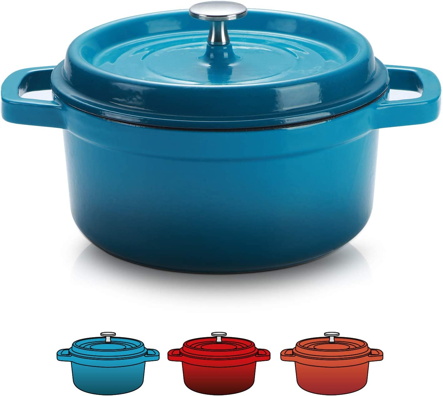 SULIVES Enameled Cast Iron Dutch Oven Non-Stick Cookware Pot with Lid Suitable for Bread Baking Use on Gas Electric Oven 3 Quart, Peacock Blue
