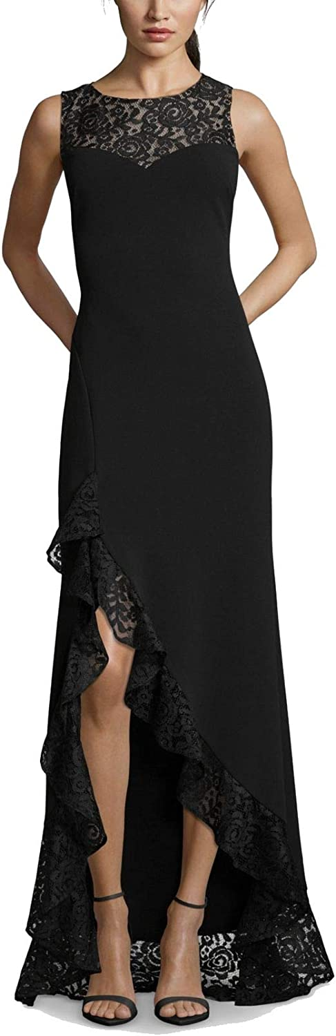 Betsy & Adam Women's Lace Ruffle High-Low Gown