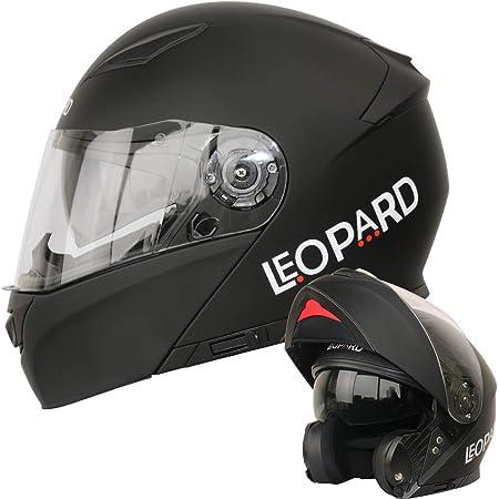 Leopard Leo 888 Klapphelm Integralhelm Mit Doppelvisier 1 Mattschwarz Xs 53 54cm Motorradhelm Damen Und Herren Ece Genehmigt Auto