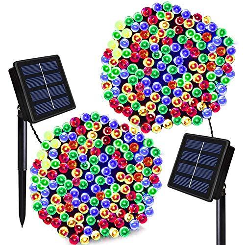 Solar Christmas Lights Solarmks 2 Pack Solar String Lights 72ft 200 LED 8 Modes Waterproof Solar Fairy String Lights for Outdoor, Gardens, Homes, Wedding, Christmas Party,Xmas Tree (Multi-Color)