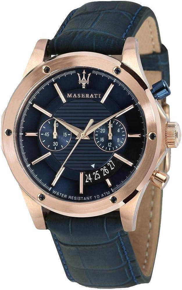 Maserati orologio da uomo, collezione circuito, in acciaio, pvd oro rosa, cuoio 8033288766551