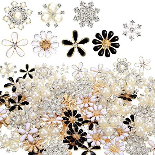 Juego de 80 botones de resina con perlas blancas y diamantes de...