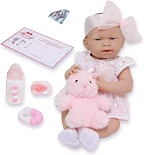 """JC Toys La Newborn All-Vinyl-Anatomically Correct Real Girl 15"""" Doll in White Eyelet Dress with Fluffy Bunny and Accessori..."""