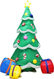 Poptrend Inflatable Christmas Decorations 7 Foot Inflatable Christmas Tree Presents– Christmas & X'Mas Yard Inflatables with LED Christmas Lights – Wacky, Funny, Colorful,Festive Holiday Spirit