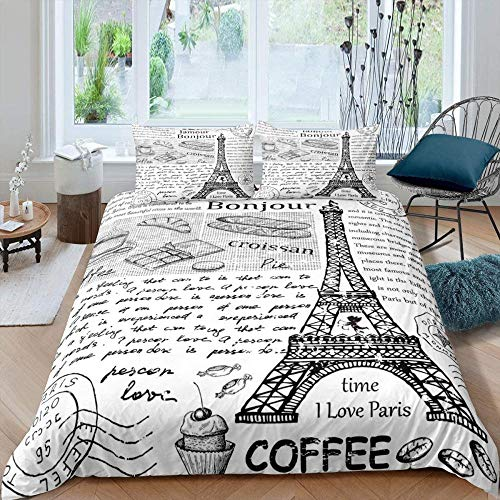 Matasuer Duvet Cover Set - - Eiffel Tower Paris City Architecture - Super King (260 X 220 Cm) + 2 Pillowcase 50 X 75 Cm Soft Easy Care Anti-Allergic Bedding Set Gift For Teens Girls