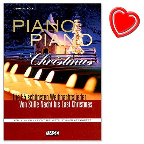 Piano Piano Christmas - wunderbare Sammlung der 65 schönsten und meist gespieltesten Weihnachtslieder für Klavier von Gerhard Kölbl - mit herzförmiger Notenklammer - EH3699 4026929912138