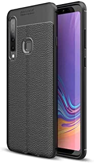 Samsung Galaxy A9 2018 Leather Skin Case Cover - Black.