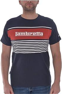 Lambretta Mens Panel Stripe Short Sleeve Casual T-Shirt Top - Navy - XL