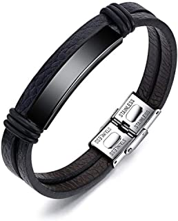 Jewels Galaxy Stainless Steel Silver Leather Wrist Charm Bracelet for Men