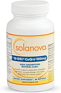Solanova – 60 Softgels of Q-Gel CoQ10 (CoEnzyme Q10 Ubiquinone) 100mg Heart Health Hydrosoluble Supplements To Maintain Normal Blood Pressure And Support The Immune System, 2 Month Supply