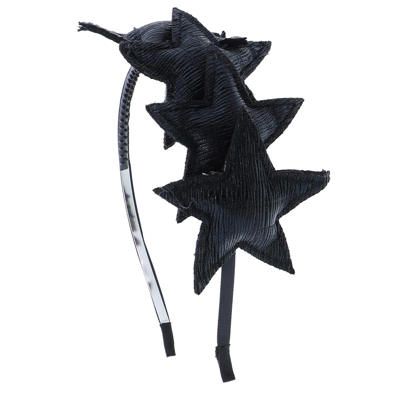 Dressy Holiday Plush Metallic Stars Headband-Black