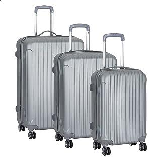 مجموعة حقائب سفر بعجلات من جيه بي، 3 قطع- لون فضي