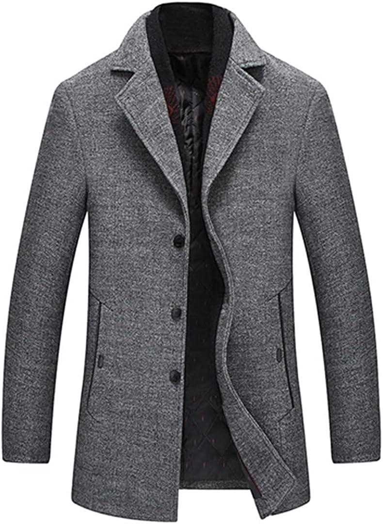 Men Wool Coats Turn Collar Woolen Outerwear Warm Business Medium Overcoat Comfortbale Topcoats With Scarf