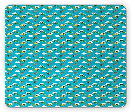 Vliegtuig muismat, Cartoon Luchtvaart Illustratie Reizen Reis Vliegen met witte wolken, Rechthoek muismat, Multi kleuren