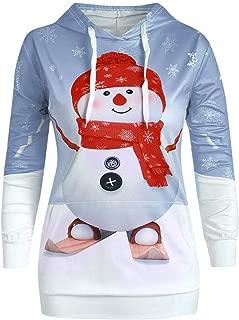 Christmas Women Hoodie Pullover Big Pocket Cute Cartoon Snowman Print Sweatshirt Top Sweatshirt
