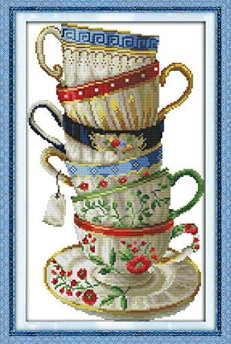 Benway - Punto croce prestampato, motivo 6 tazze da caffè, 44 quadretti, 35 x 54 cm