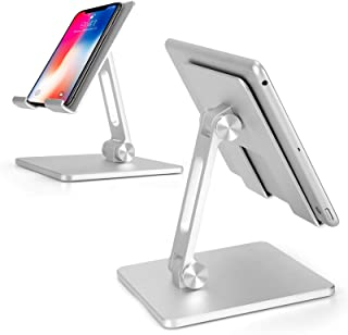"""Zienstar-Foldable Aluminum Tablet Stand,Dual Height and Angle Adjustable Bracket for 4""""-15.6"""" Tablet/Ipad/Cell Phone (Silver)"""