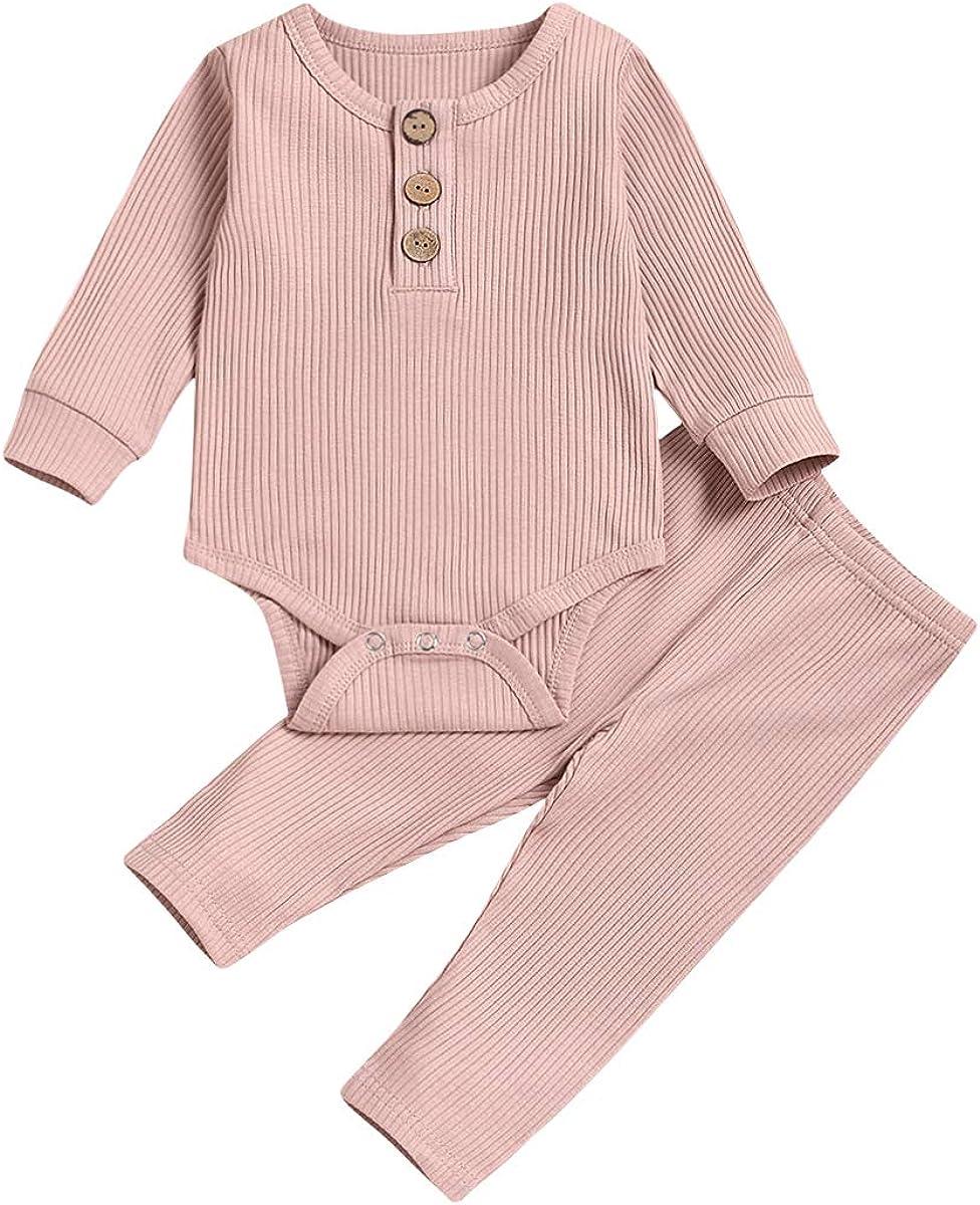 Newborn Baby Boys Girls Snug-Fit Pajamas Long Sleeve Organic Cotton Bodysuit+Pants Sets Fall Winter Clothes(Pink,3-6 Months)
