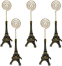 Dproptel 5 Packs Unique Eiffel Tower Style Card Holder Memo Clip for Note Message Clip Photo Display Wedding Table Name Home Shops Decoration - (Bronze)