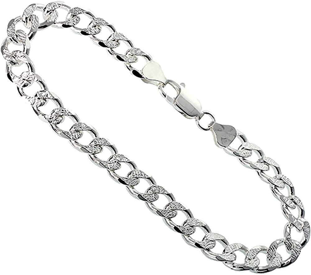 Sterling Silver Curb Max 63% OFF Cuban Link Bracelets Necklaces 8mm Chain Milwaukee Mall
