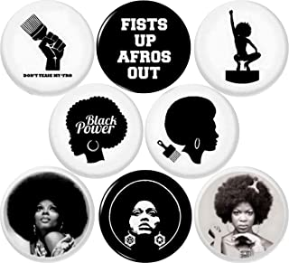 """BLACK POWER AFRO 8 NEW 1 Inch (25mm) Set of 8 BLACK LIVES MATTER Buttons Badges Pins 1"""" BLM"""