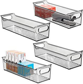 "$20 » mDesign Slim Plastic Home, Office Storage Bin Container - Desk, Drawer Organizer Tote with Handles - Holds Gel Pens, Erasers, Tape, Pens, Pencils, Highlighters, Markers - 14"" Long, 4 Pack - Smoke Gray"