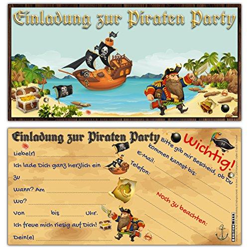 BREITENWERK 12 Piraten Einladungskarten im Set zum Ausfüllen - ideale Einladungen für Jungen und Mädchen Kinder-Geburtstag Party oder Schatzsuche