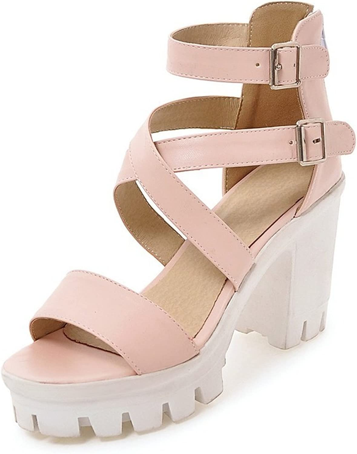 DecoStain Women's Classic Open Toe Buckle Ankle Strap Platform High Chunky Heel Working Party Sandals