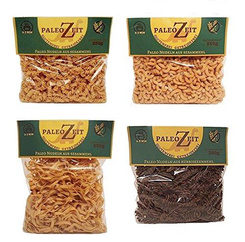 4x 250g Paleo Nudeln Glutenfrei Getreidefrei Weizenfrei PaleoZeit Pasta bestehend aus: 3x Nudeln mit Sesammehl 1x Nudeln mit Leinsamenmehlmehl