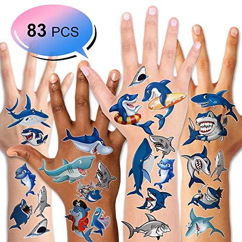 Konsait 10 Blätter Kinder Tattoos Set, Hai Delfine temporäre Tattoos Klebetattoos für Kinder Jungen Kindergeburtstag Mitgebsel geschenktüten Kinder Spielen