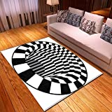 Alician Alfombra antideslizante 3D para restaurante, hogar, dormitorio, alfombrilla negra y blanca para pies J191129-B001 1.5-1