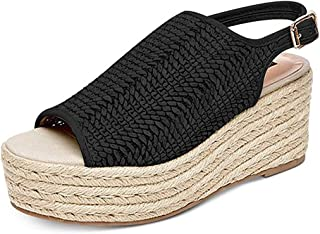 Ankle Strap Open Toe Flatform Sandals, Toe Buckle Strap Wedges Fashion Ladies High Heels Platform Shoes Espadrilles,A,35