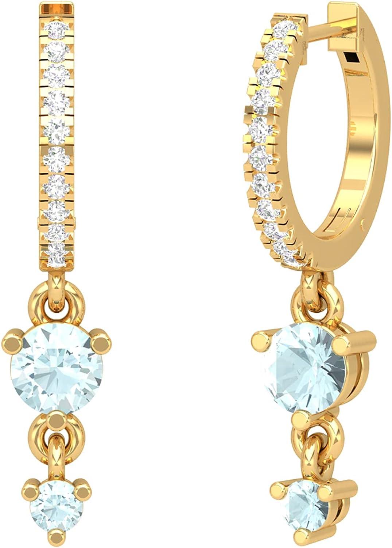 18K Aquamarine Hoops, 14K Aquamarine Helix Piercing, Tiny Hoop Earrings, Lobe Piercing, Helix Piercing, 14K Gold Earrings